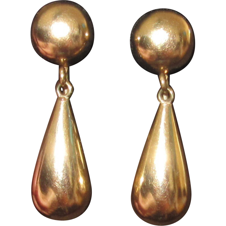 Vintage 14K Gold Earrings Tear Drop Shape