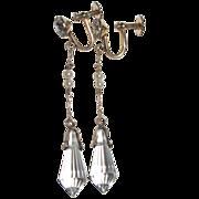 Vintage Gold Filled Crystal Drops Earrings Screw Tops