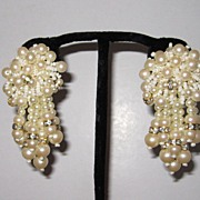 Vintage Large Faux Pearls Fringe Earrings Clip