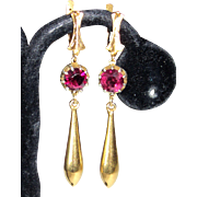 Victorian Garnet Earrings Long Drop