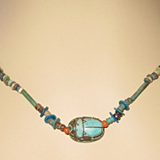Egyptian Mummy Bead Scarab Necklace