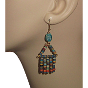 Vintage Egyptian Mummy Beads Earrings