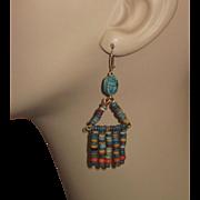 Vintage Egyptian Mummy Beads Earrings