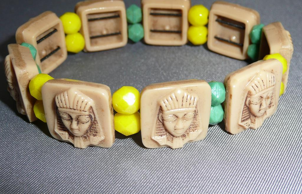 Vintage Glass Egyptian Motif Bracelet