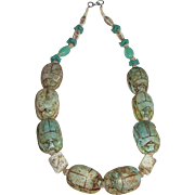Vintage Egyptian Revival Large Scarab Bead Necklace