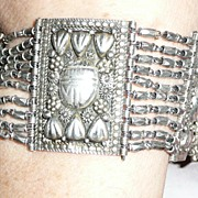 Art Deco Silver Egyptian Revival Scarab Bracelet
