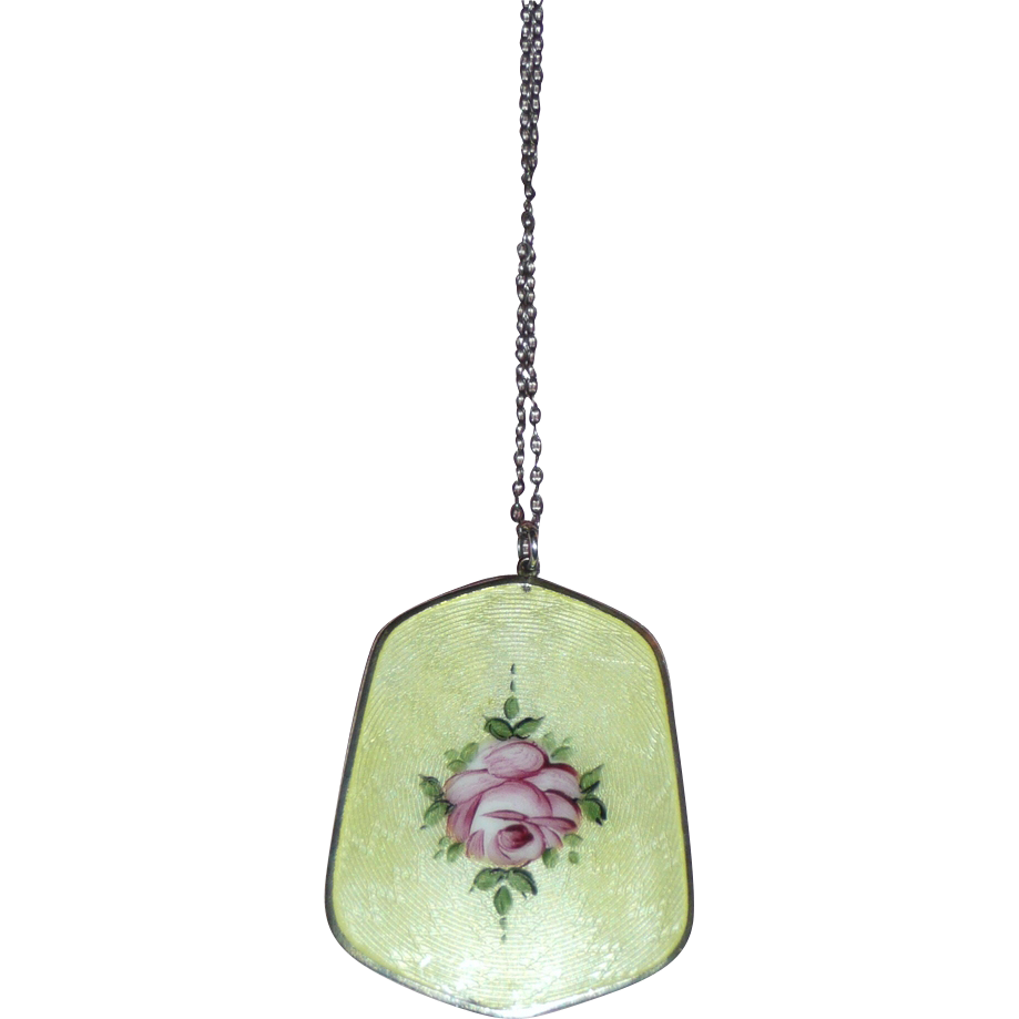 Beautiful Enamel Pendant and Earrings Yellow with Rose