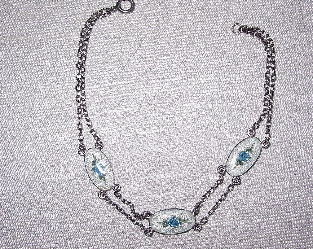 Vintage Sterling Enamel Bracelet Flowers