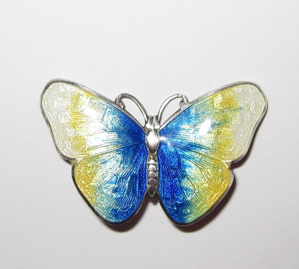 Vintage Sterling Enamel Butterfly Brooch and Earrings Blue Yellow