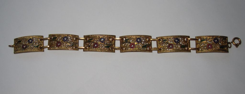 Vintage Gilt Filigree Panel Bracelet Enamel Flowers