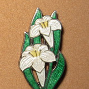 Vintage Enamel Lily Pin Sterling