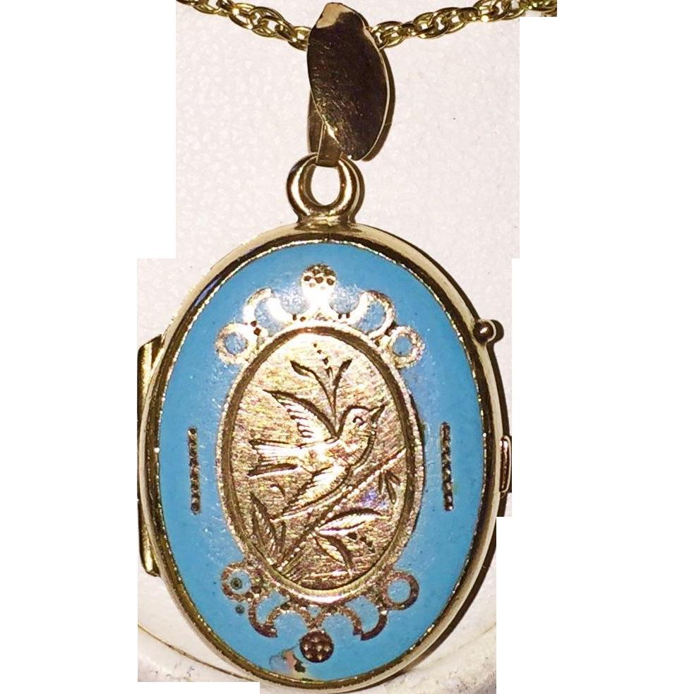 Antique Turquoise Blue Enamel Locket Sold Ruby Lane