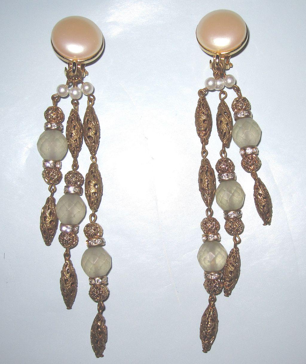 Vintage Eric Beamon Long Clip Earrings