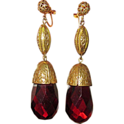 Fabulous Fabulous 1930s Brass & Glass Drop Earrings