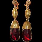 Fabulous Fabulous 1930s Brass & Glass Drop Earrings