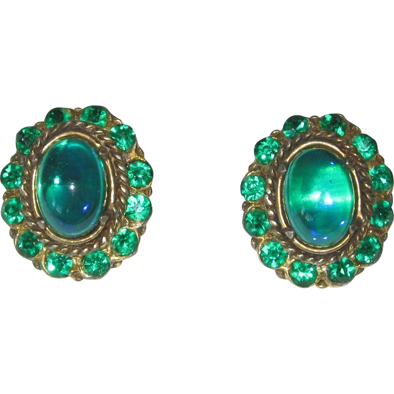 Gorgeous Blue Green Glass Huge Clip Earrings