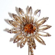 Vintage Fancy Flower Brooch Topaz Colors