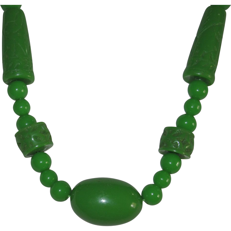 Vintage Carved Lucite Faux Jade Necklace Beads