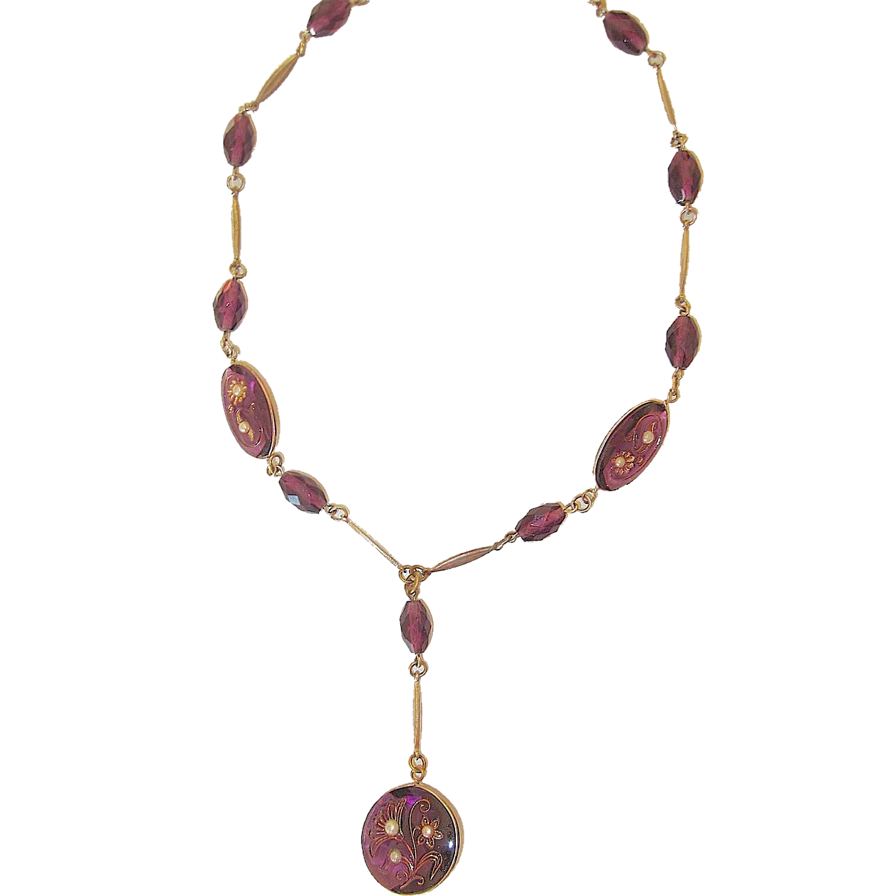 Victorian Revival Purple Glass Necklace