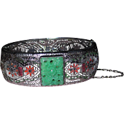 Art Deco Filigree Peking Glass Enamel Hinged Bangle Bracelet