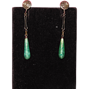 Art Deco Peking Glass Filigree Drop Earrings