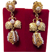 Victorian Gold and Cultured Pearls Filigree Earrings