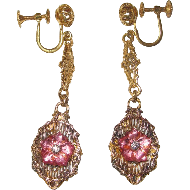 Edwardian Gilt Filigree Pink Glass Flower Earrings