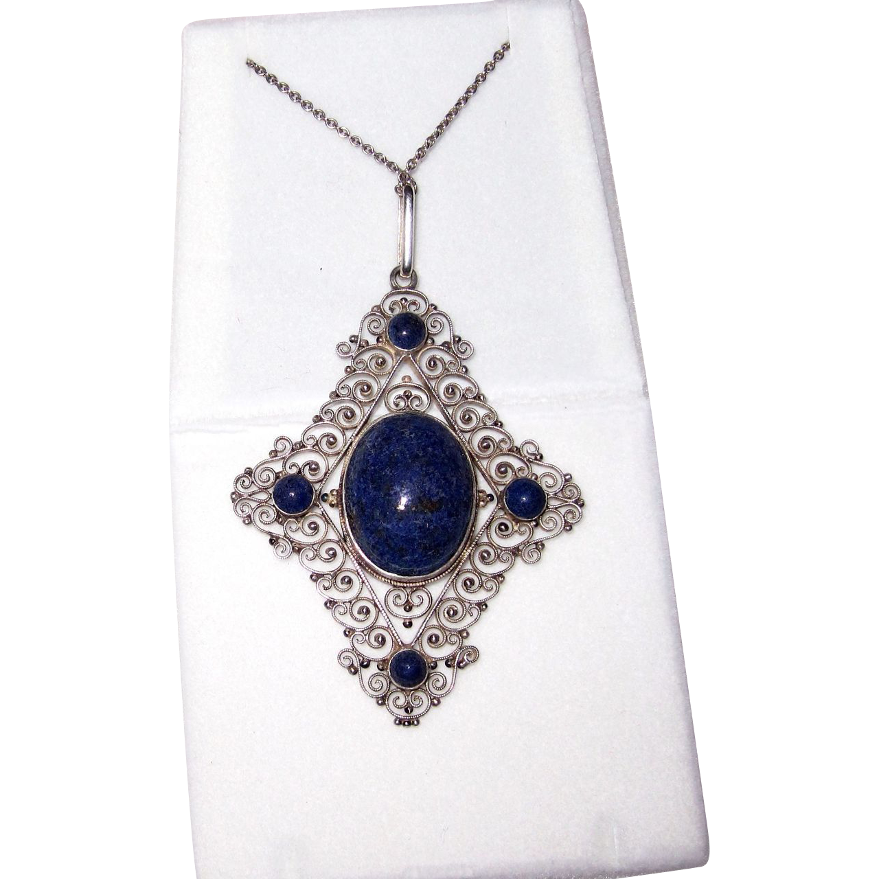 sterling silver lapis filigree pendant from phalan on ruby
