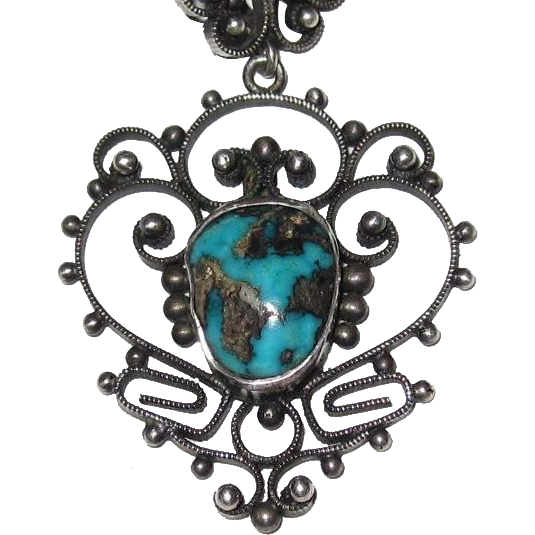 Filigree Silver Turquoise Pendant