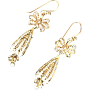 Vintage Gilt Filigree Cultured Seed Pearls Earrings