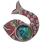 Scandinavian Silver Fish Pendant Dichroic Green Glass