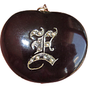 Victorian Fob Large Chestnut Engraved with Seed Pearls