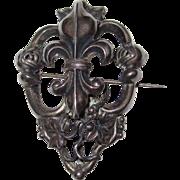 Large Silver Fleur de Lis Chatelaine Brooch Heraldic