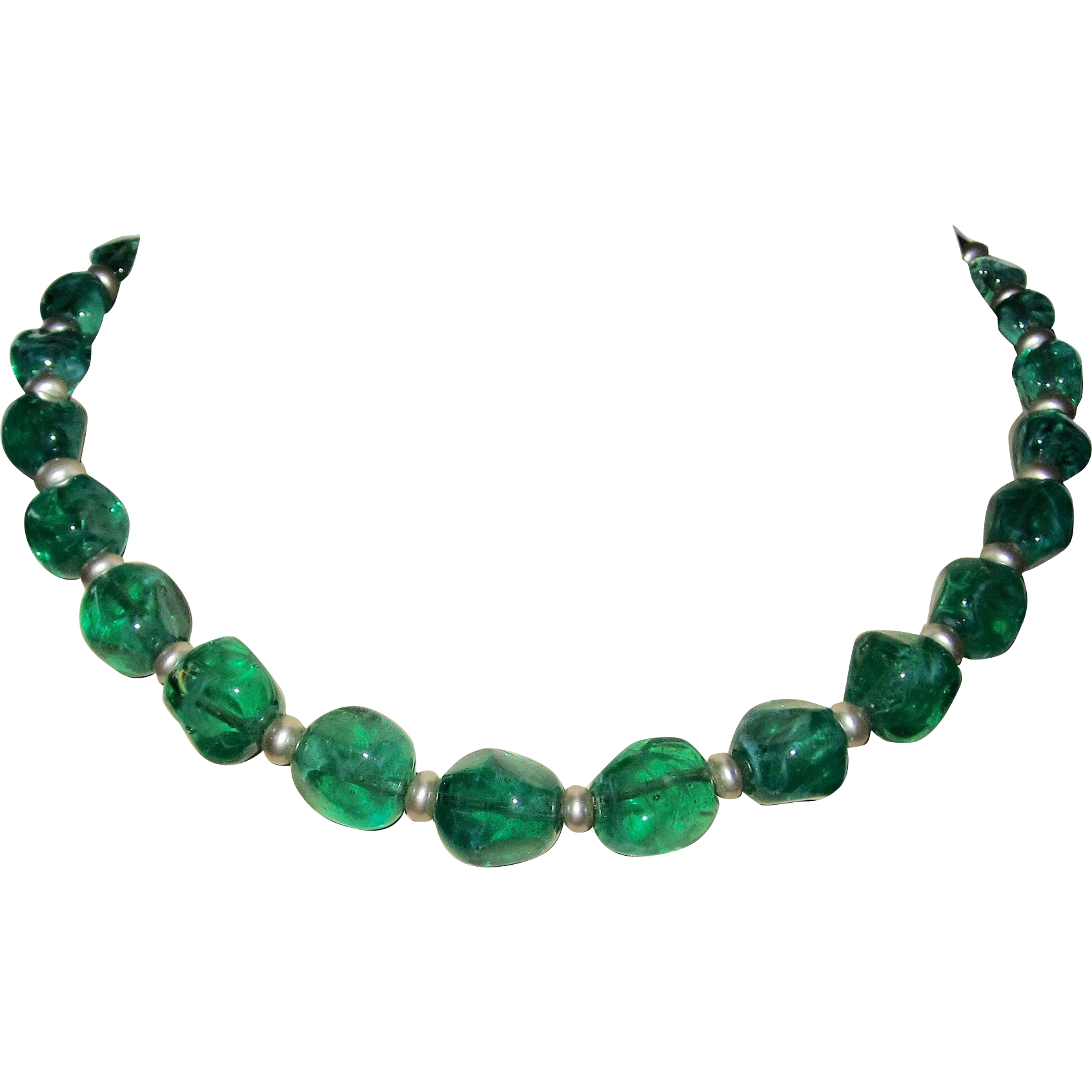 French Flawed Glass Emerald Green Beads Necklace