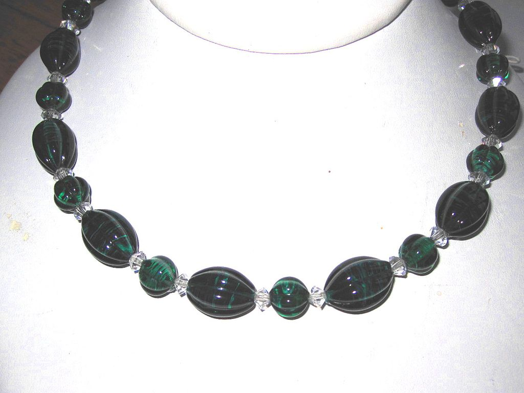 Beautiful Vintage French Glass Beads Green