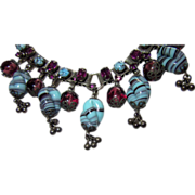 Vintage Bookchain Fringe Necklace Glass Turquoise and Cranberry Beads