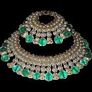 Vintage Gorgeous Glass Pearls Emerald Beads Fringe Necklace Bracelet