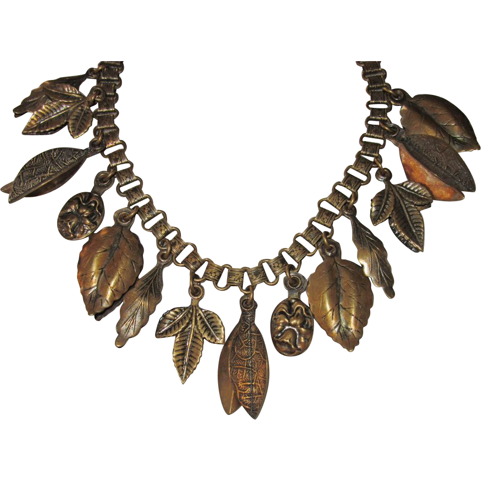 Vintage Brass Fringe Necklace Leaves