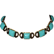Vintage Trifari Set Turquoise Necklace and Bracelet