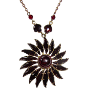 Vintage Garnet Glass Pendant Wonderful