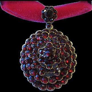 Antique Bohemian Garnet Locket Pendant