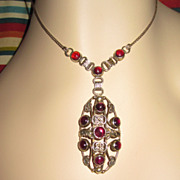 Arts & Crafts  Sterling Garnet Pendant