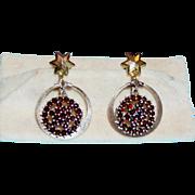 Vintage Garnet Earrings Star Design