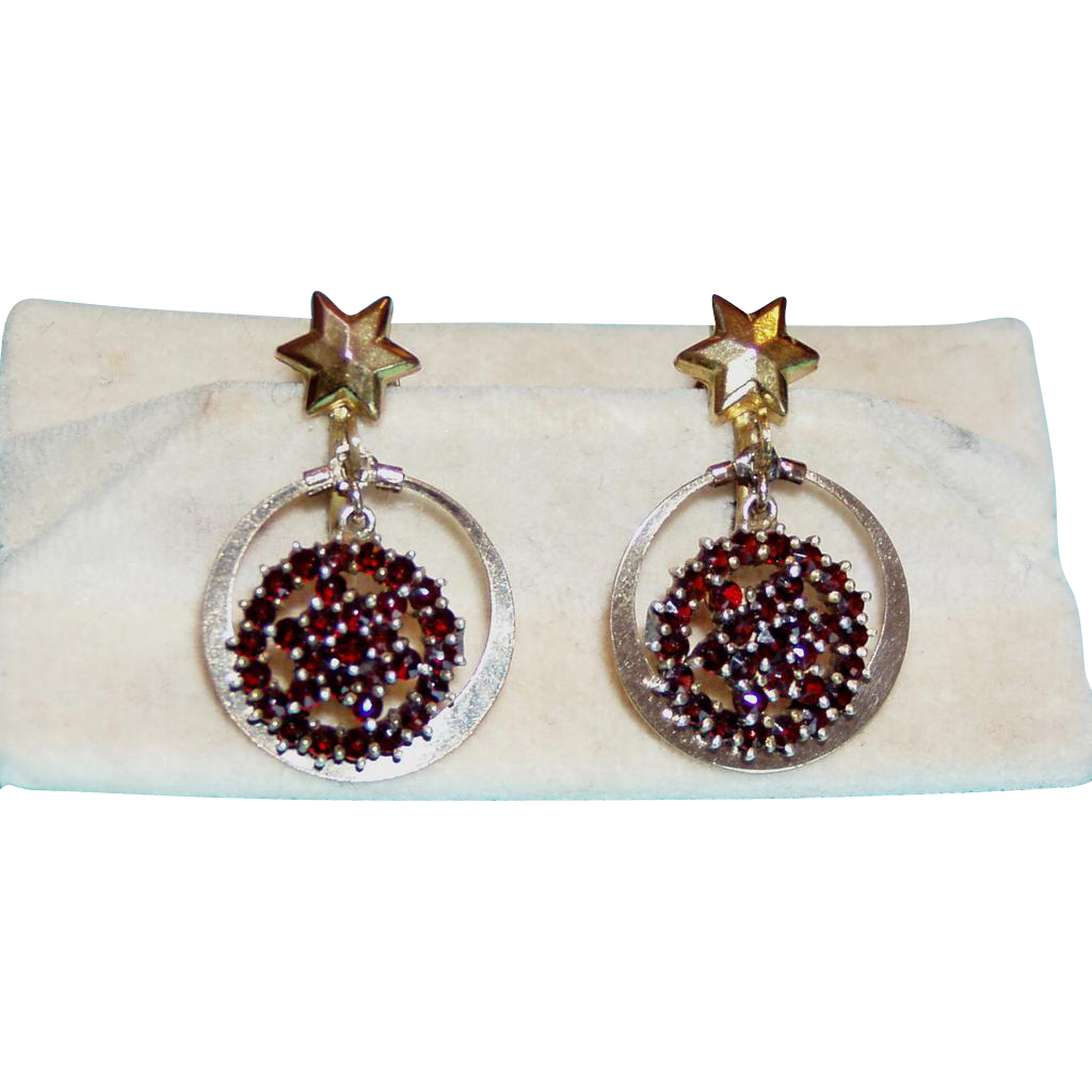 Vintage Garnet Earrings Star Design