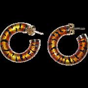 Gaston Lebo Pauly 750 Gold Tiger Enamel Hoop Earrings Italy