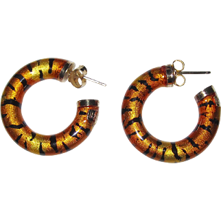 Gaston Lebo Pauly 750 Gold Tiger Enamel Hoop Earrings Italy