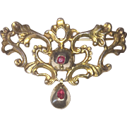 Georgian Brooch Gold Tone Red Paste Stones