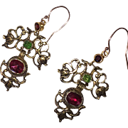 Antique Georgian Earrings Red and Green