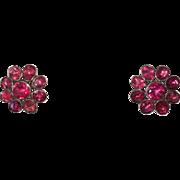 Georgian Pink Foiled Paste Daisy Earrings