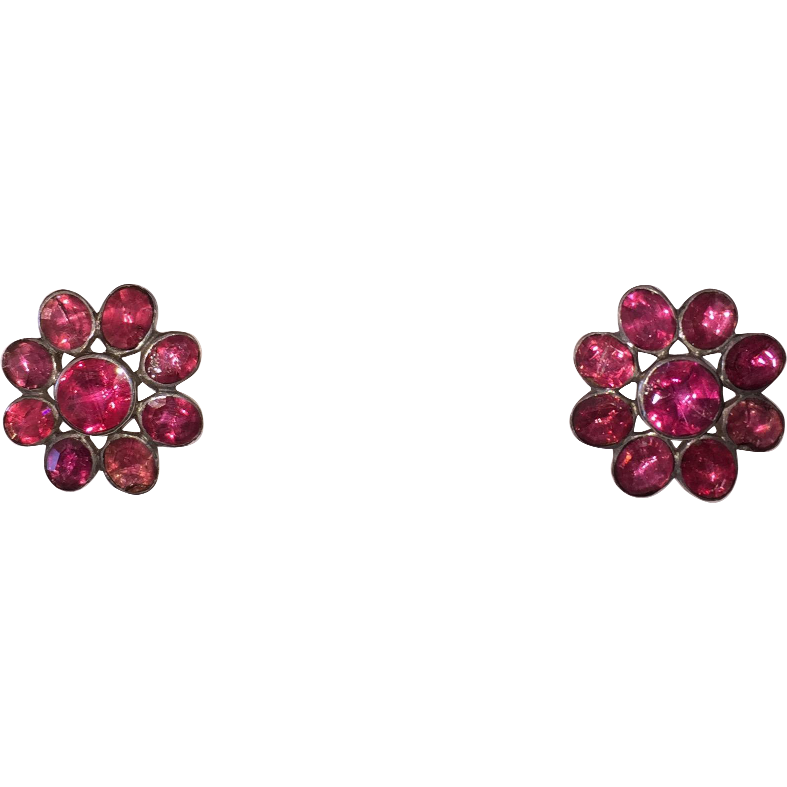 Georgian Pink Foiled Paste Daisy Earrings